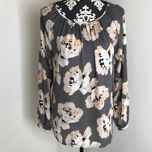 LOFT Long Sleeve Floral Blouse Size Medium